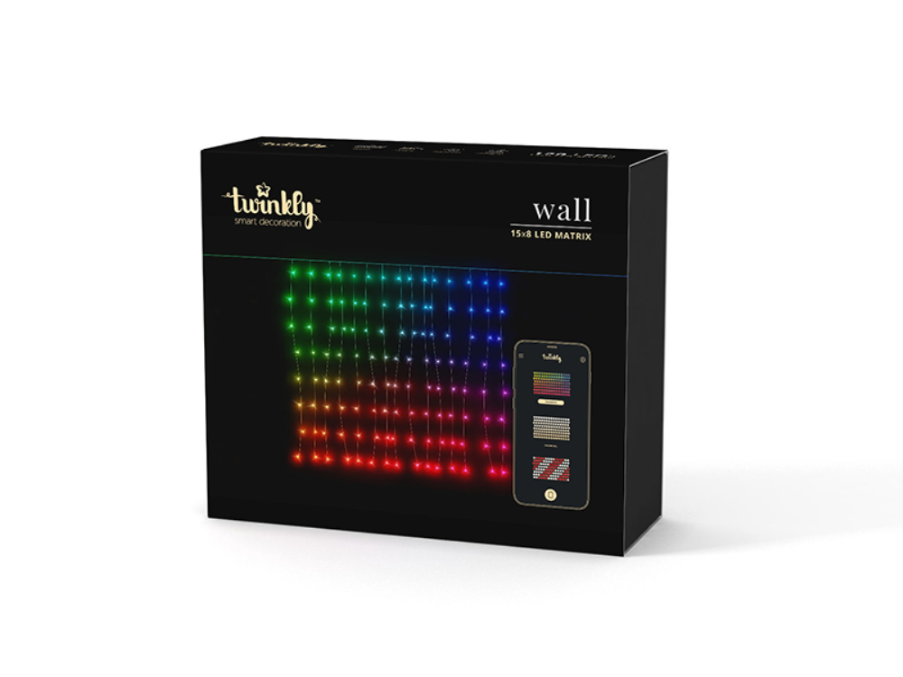 Twinkly Lichterkette - Smart Light -Wall 120 RGB-LEDs; BxH:150x80cm; transparentes Kabel; IP44; mit APP steuerbar