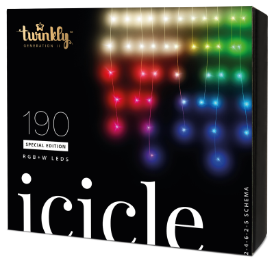 Twinkly Icicle 2 - Smart Light - 190 RGBW-LEDs; BxH:500x80cm; transparentes Kabel; IP44; mit APP steuerbar; Bluetooth+WiFi, Musicsensor